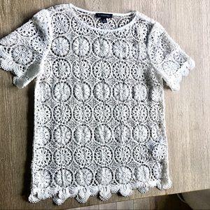 Banana Republic crochet top white